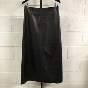 HUGO BUSCATI Collection Long Black Leather Skirt